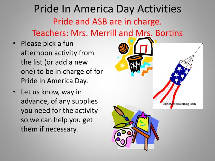 Pride In America Day Activities