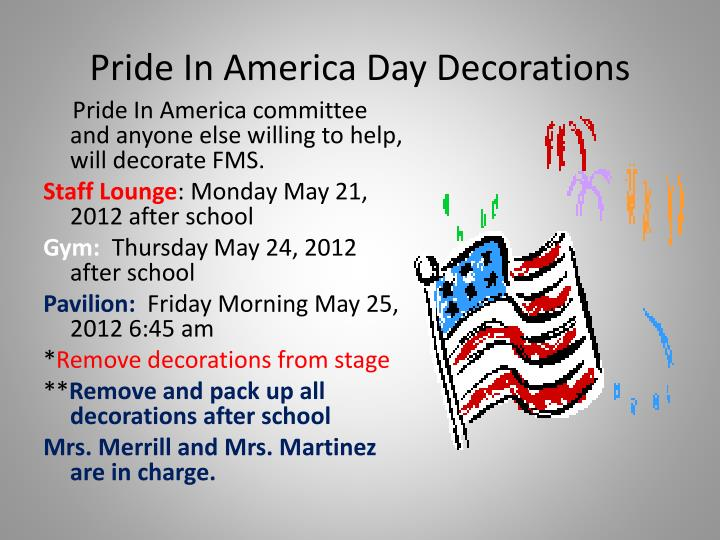 Pride In America Day Decorations