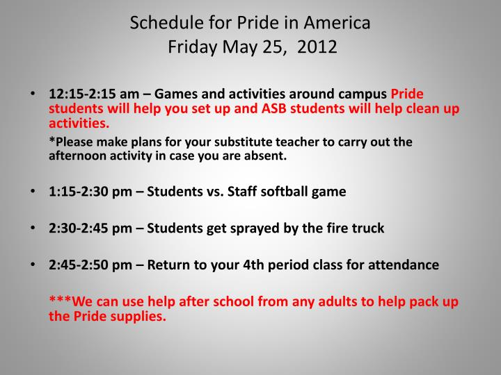 Schedule for Pride in America