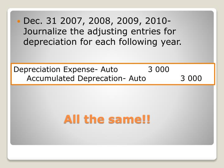 Dec. 31 2007, 2008, 2009, 2010- Journalize the adjusting entries for depreciation for each following year.