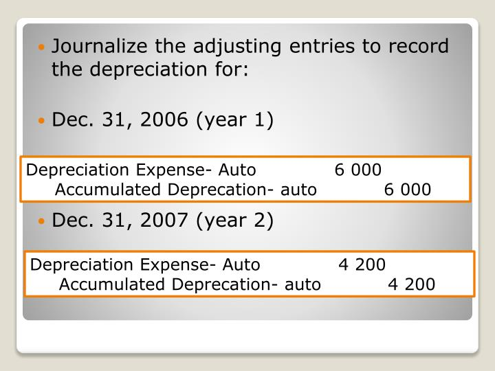 Journalize the adjusting entries to record the depreciation for: