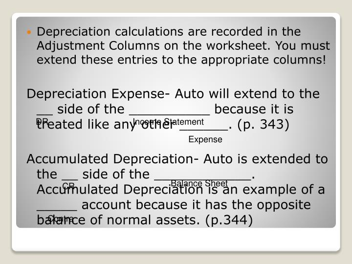 Depreciation calculations are recorded in the Adjustment Columns on the worksheet. You must extend these entries to the appropriate columns!
