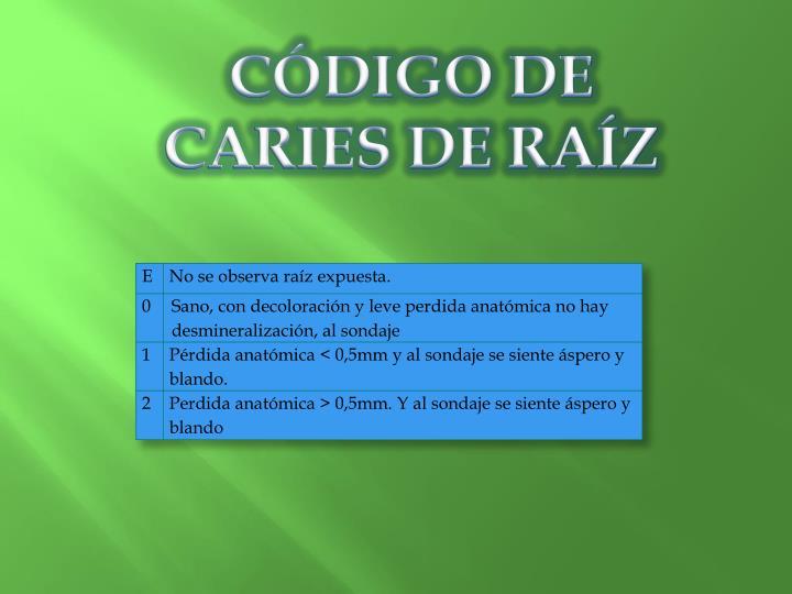 CÓDIGO DE CARIES DE RAÍZ