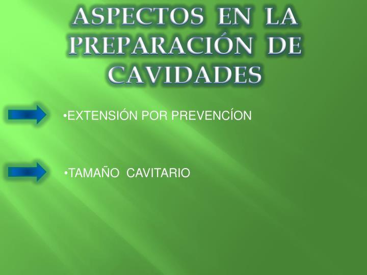 ASPECTOS  EN  LA  PREPARACIÓN  DE CAVIDADES