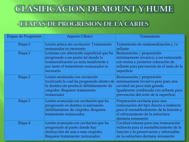 CLASIFICACION DE MOUNT Y HUME
