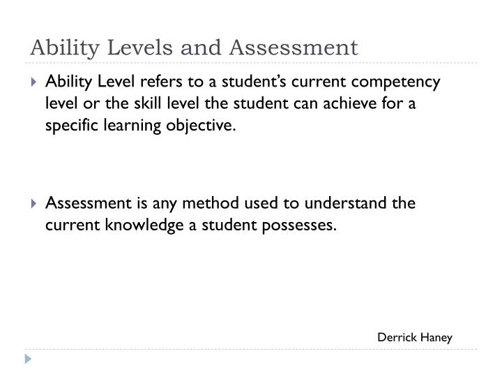 Ability Levels and Assessment