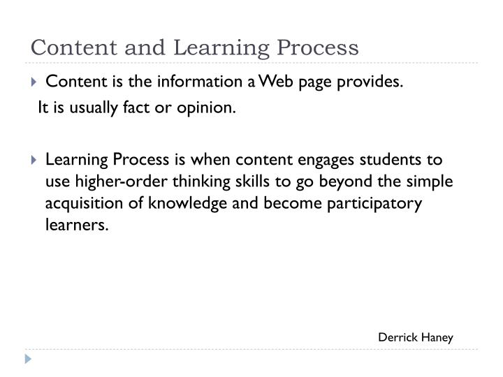 Content and Learning Process
