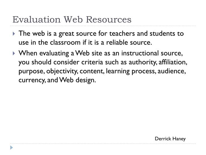 Evaluation Web Resources