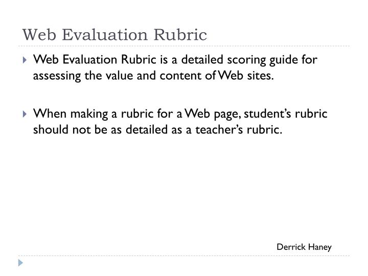 Web Evaluation Rubric