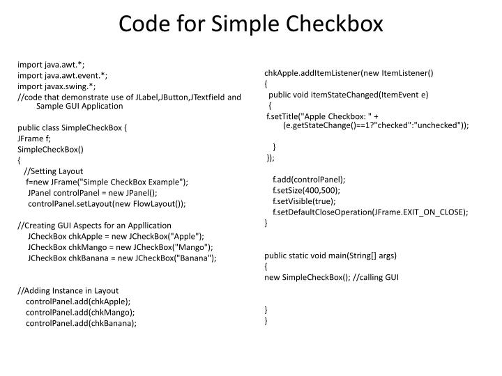 Code for Simple Checkbox