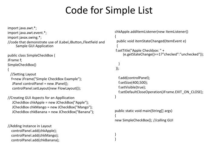 Code for Simple List