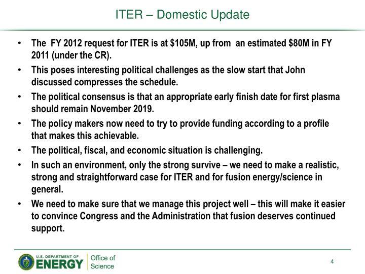ITER – Domestic Update