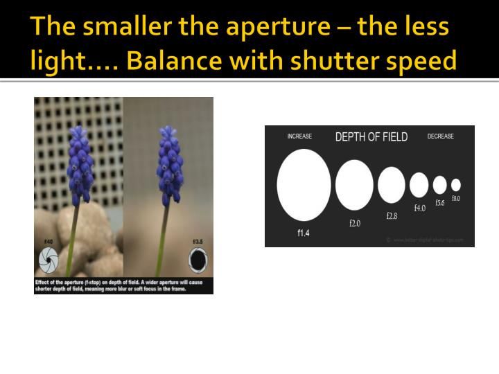 The smaller the aperture – the less light…. Balance with shutter speed