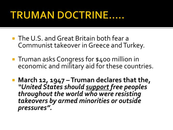 TRUMAN DOCTRINE…..