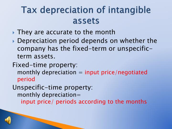Tax depreciation of intangible assets