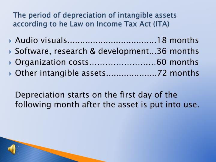The period of depreciation of intangible assets according to he Law on Income Tax Act (ITA)