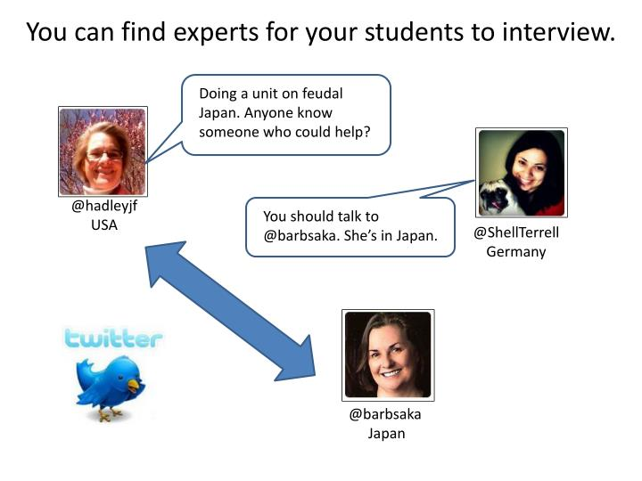 You can find experts for your students to interview.