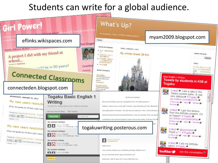 Students can write for a global audience.