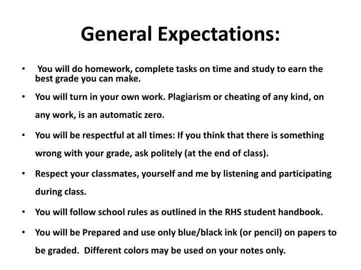 General Expectations:
