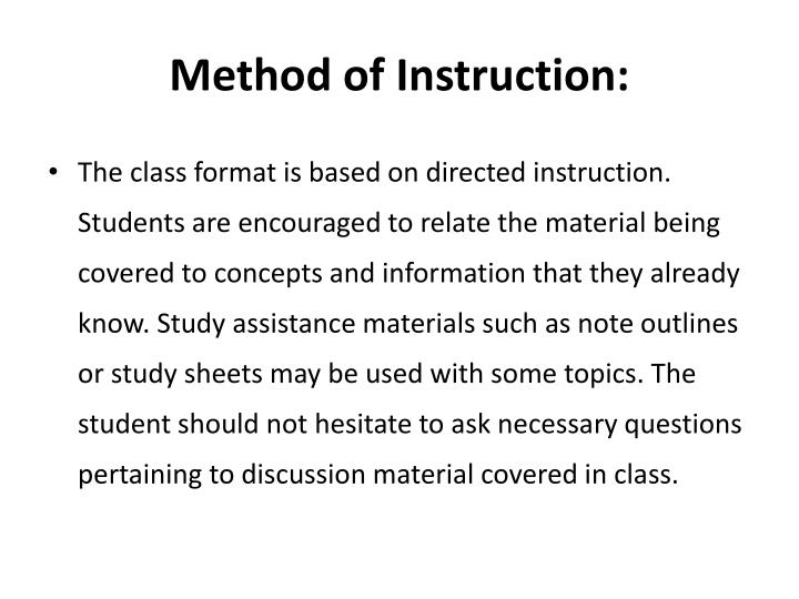 Method of Instruction:
