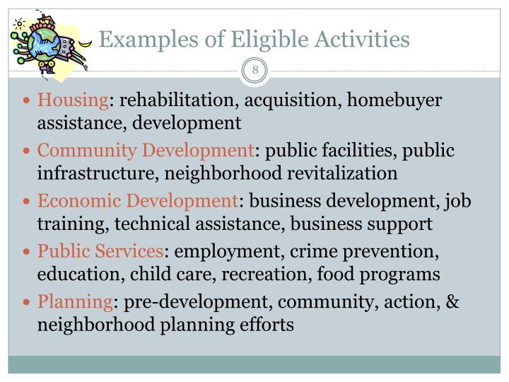 Examples of Eligible Activities