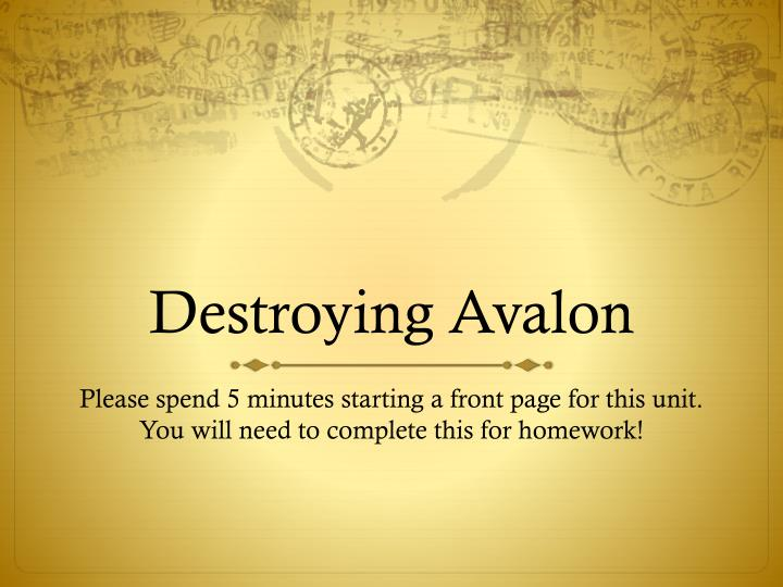 destroying avalon comprehension answers Avalon lies to her friends about her life in the country so they support your answer describe the representation of family in destroying avalon 8 author:.