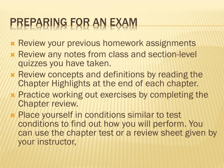 Review your previous homework assignments