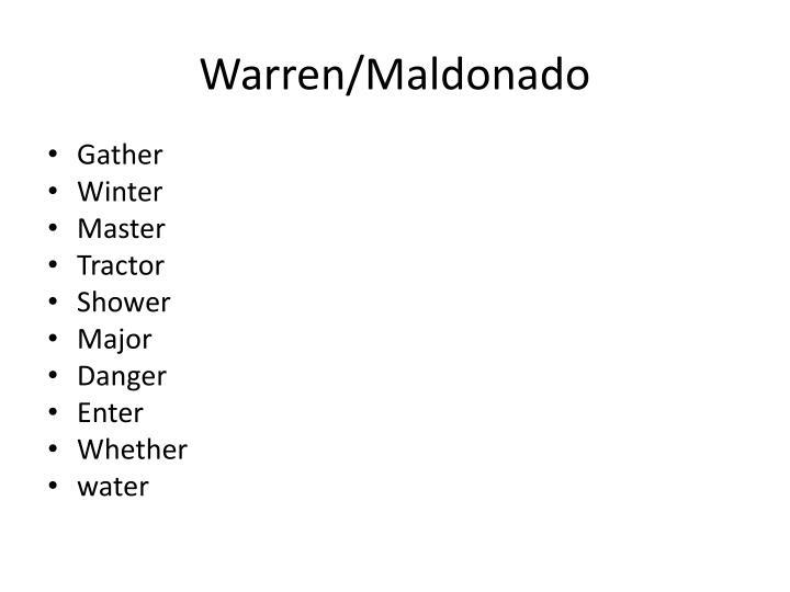 Warren/Maldonado
