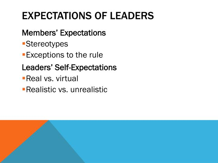 Expectations of Leaders