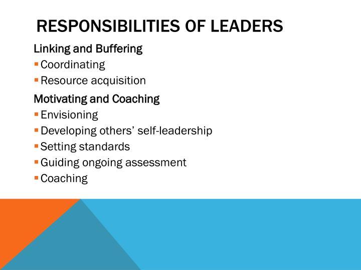 Responsibilities of Leaders