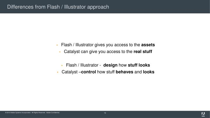 Differences from Flash / Illustrator approach