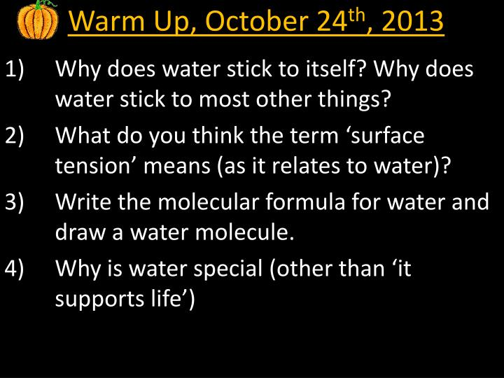 Warm Up, October 24