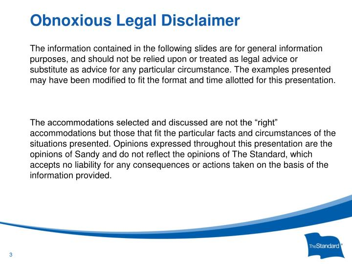 Obnoxious legal disclaimer