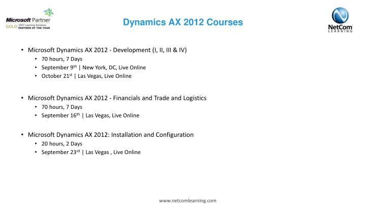 Dynamics AX 2012 Courses