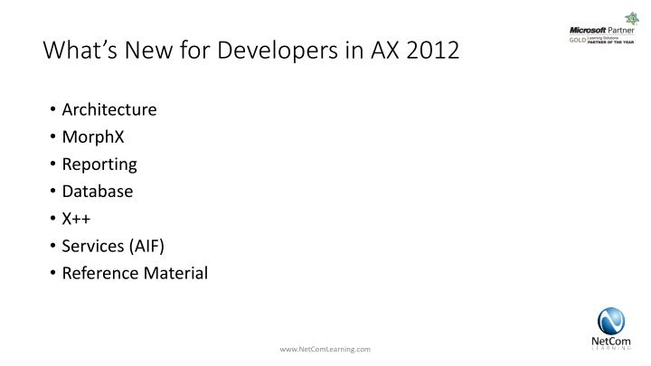 What s new for developers in ax 2012