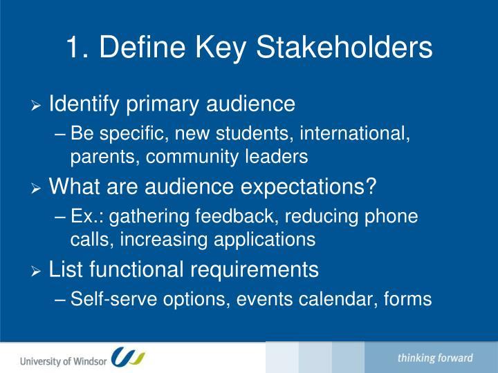 1. Define Key Stakeholders