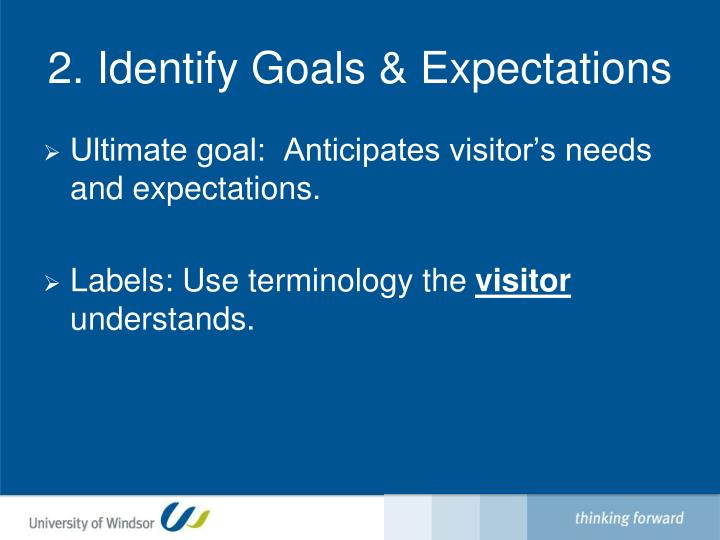 2. Identify Goals & Expectations