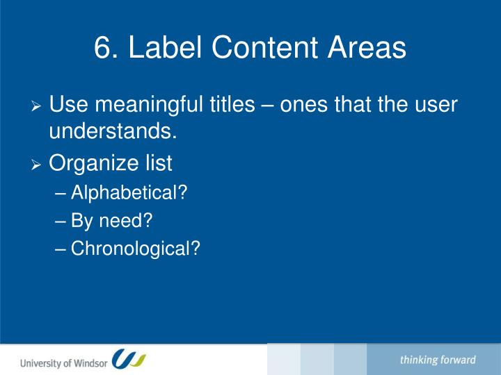 6. Label Content Areas