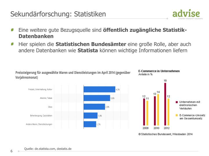 Sekundärforschung: Statistiken