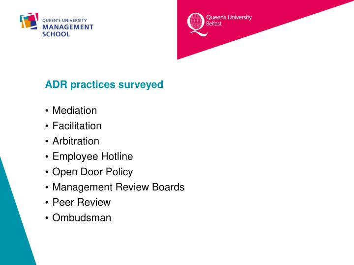 ADR practices surveyed