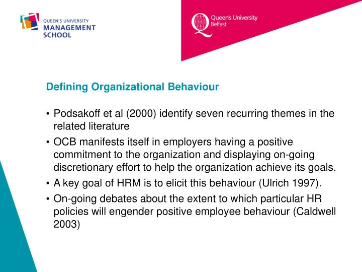 Defining Organizational Behaviour