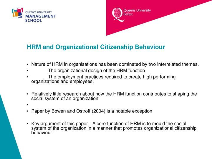 Hrm and organizational citizenship behaviour