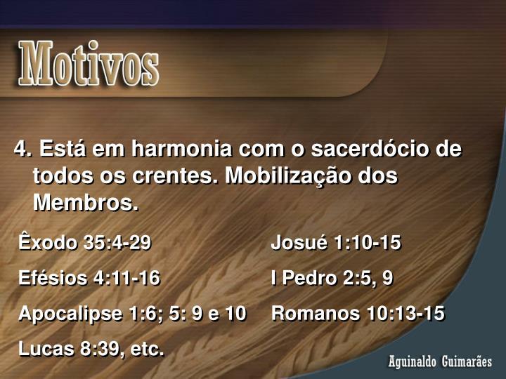 Está em harmonia com o sacerdócio de todos os crentes. Mobilização dos Membros.