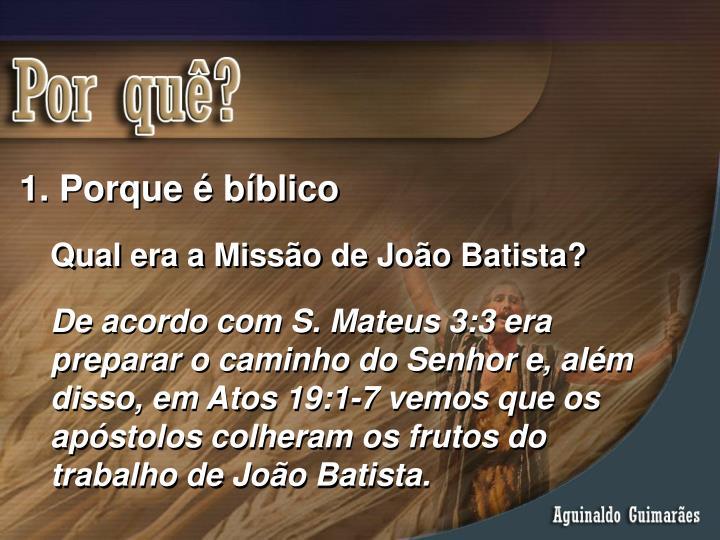 Porque é bíblico