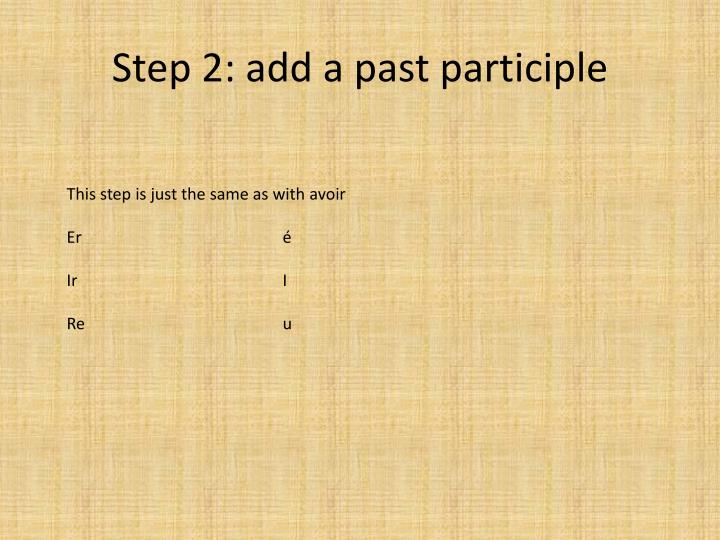 Step 2: add a past participle