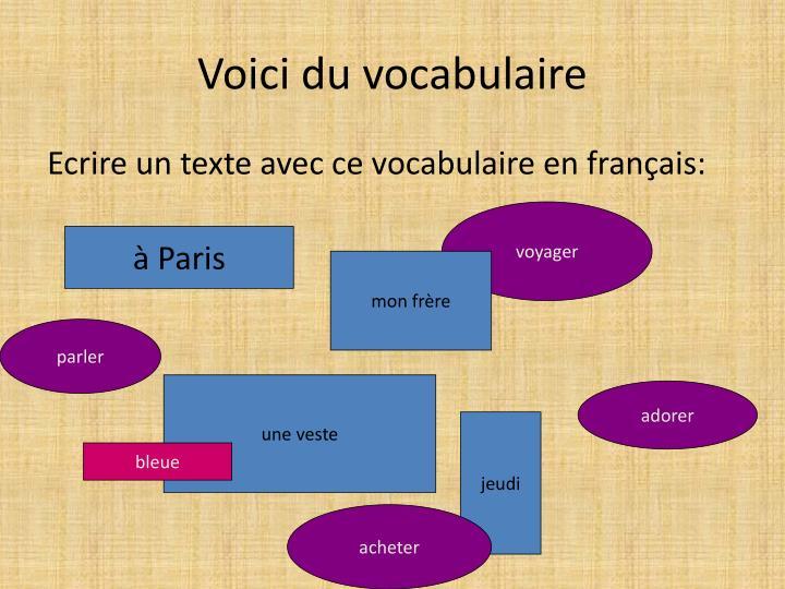 Voici du vocabulaire