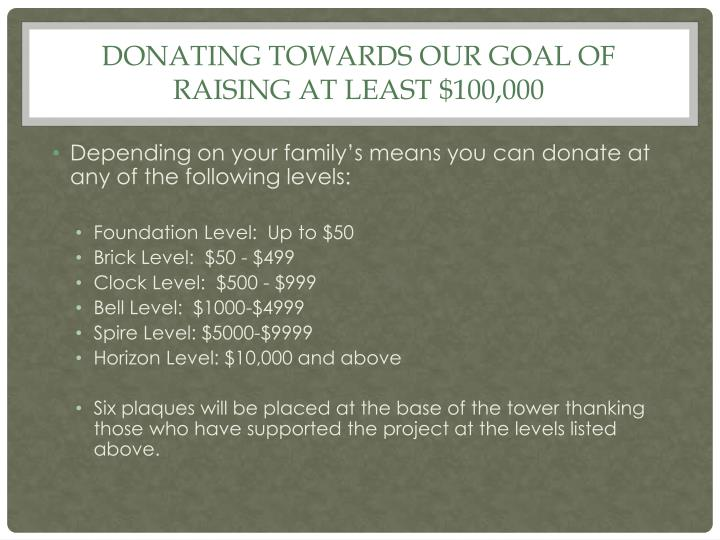 Donating towards our goal of raising at least $100,000