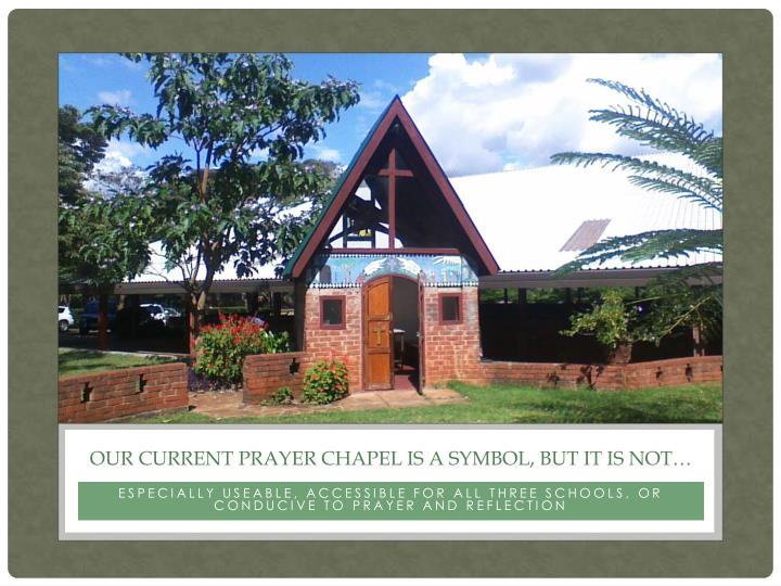 Our current prayer chapel is a symbol but it is not