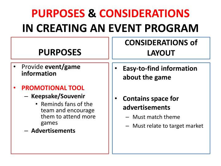 Purposes considerations in creating an event program