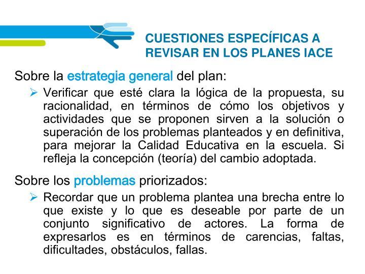 CUESTIONES ESPECÍFICAS A REVISAR EN LOS PLANES IACE
